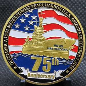 Pearl Harbor 75th Anniversary in Shiny Gold Tone
